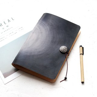 Black Smudge A5 A6 A7 Loose-leaf Notebook Leather Handbook Handmade Leather Notepad Free Lettering