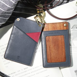 Red triangle telescopic buckle custom badge set work permit lanyard wooden leather chest card set / rosewood