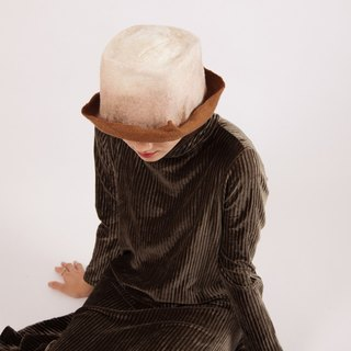 Ke original handmade felt hat female spring and autumn warm wool felt square short eaves flat top hat elegant fashion art