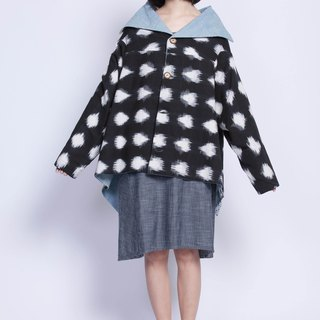 Yi Jia weaving + denim night blooming big lapels coat - fair trade
