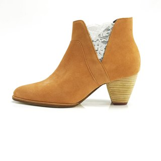 Valley (Orange brown mid heels handmade leather shoes)