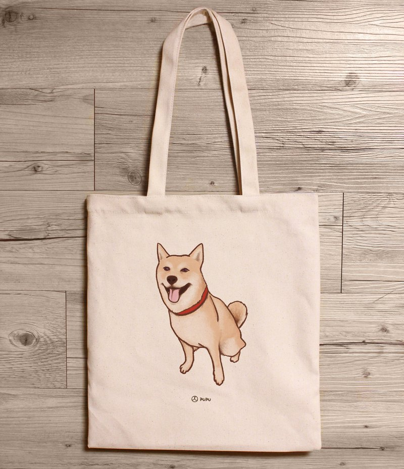 Shiba Inu - Seated Shoulder Canvas Bag / Canvas Bag / Taiwan Cotton / Linen / Bag / Fly Planet / Wenchong Shiba / Bag / Taiwanese / Hand Market