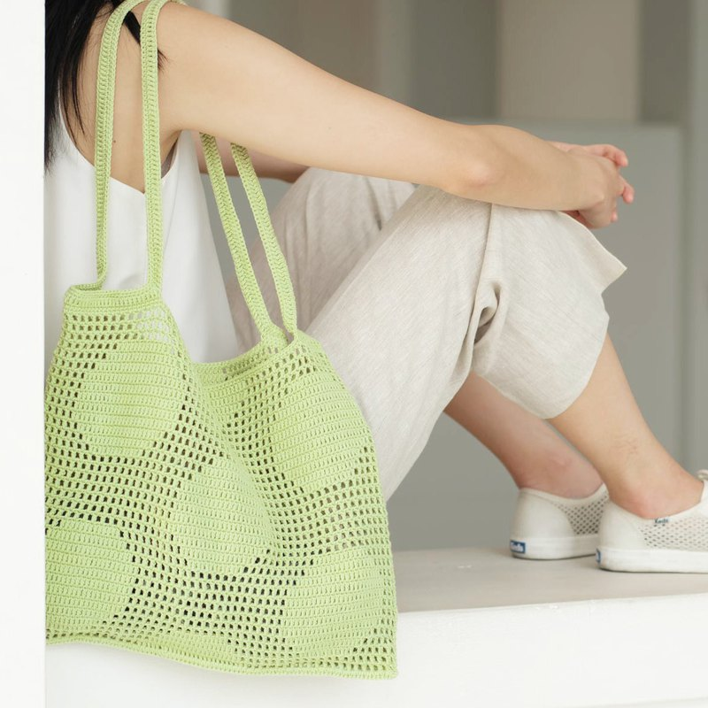 Crochet Polka Dot Tote Bag | Lime