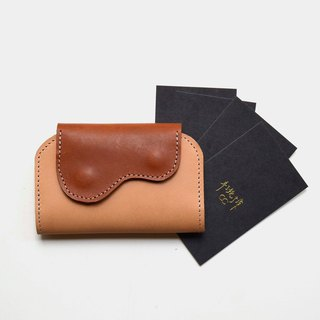 [Name of God's mouth] vegetable tanned leather business card holder primary color X brown leather card holder lettering gift