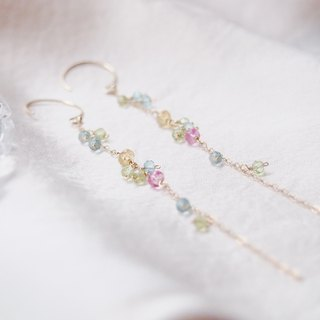 Swanlace illusion candy color mixed natural stone handmade 14kgf bag gold long earrings / ear clip