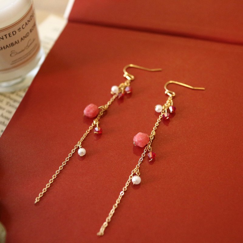 18k gold temperament elegant long natural stone crystal red cotton pearl dangle earrings