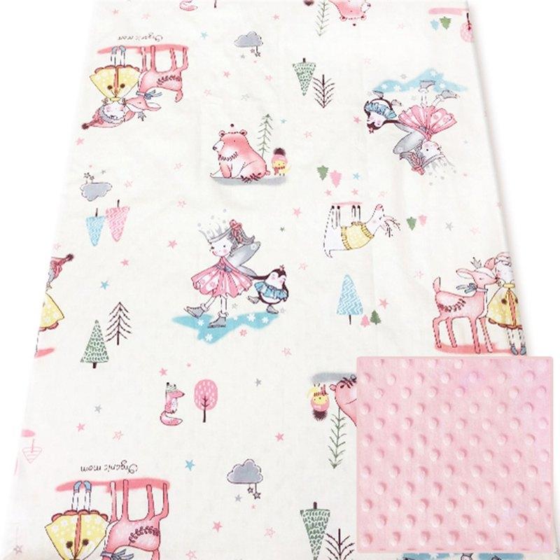 Minky多功能 點點顆粒 攜帶毯嬰兒毯冷氣毯被 粉色-溜冰女王
