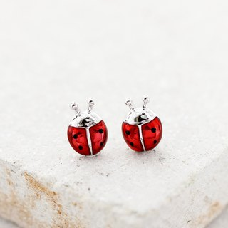 Lucky Ladybug Earrings in 925 Sterling Silver
