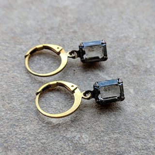 Simple Dark Gray Glass Earrings