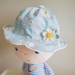 Handmade blue floral pattern baby/ kid hat