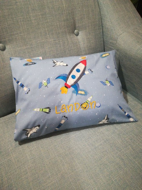 Custom Embroidery Baby Pillow, Small Pillow - Rocket