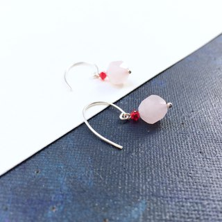 925 silver-rose quartz & Austrian crystal pierced earrings
