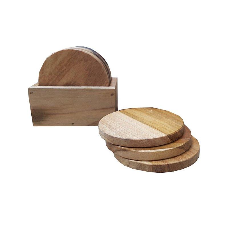 【吉迪市柚木家具】原木杯墊6個 含收納盒 木質杯墊 LT-070A