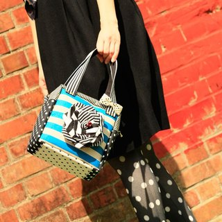 cube handbag Femme Fatale with black&white corsage Blue dots borders