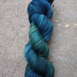 Hand-stitched lace thread. Deep Blue (80 BFL / 20 Silk)