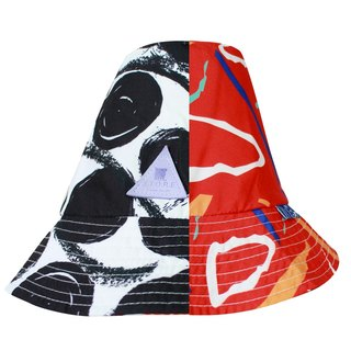 MR.STORE Handmade Red Lines And Black Dot Double Size Bucket Hat
