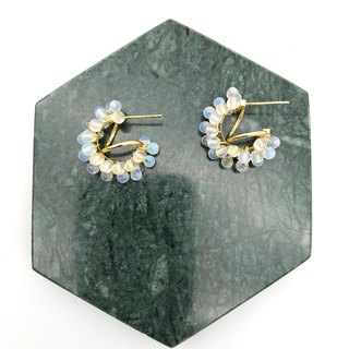 Opal 14kgf Earrings 【Natural Stones】 【White Earrings】 【Christmas Gift】