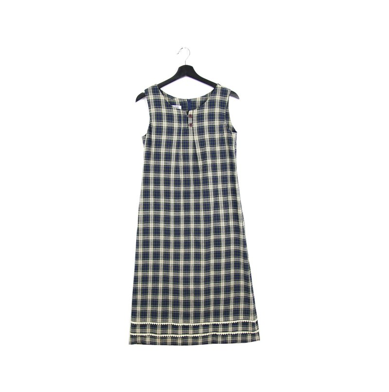 Back to Green:: Dark Blue White Plaid Dress Vintage Dress (DS-16)