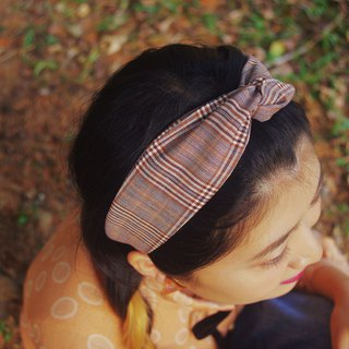 Antique Grenze Fabric Retro Hairband - Camel Plaid