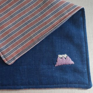 "Hand embroidered quadruple gauze handkerchief ""Mt.Fuji 1""[order-receiving production]"