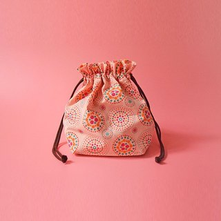 Traveling Purse-String Bag-M / Firework / Pink Peach, Orange, Green