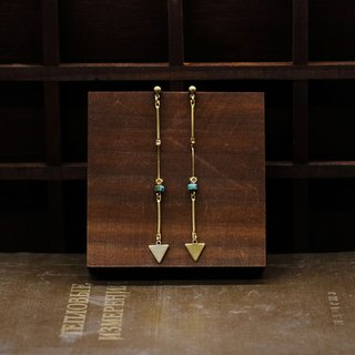 String Series Brass Turquoise Arrow Dangling Earrings Ear Pins Without Pierced Ears