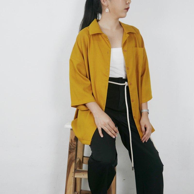 O 系列 - 大廓形口袋襯衫 - 赭色