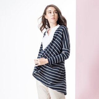 Long-sleeved, striped, open-cut cover blouse