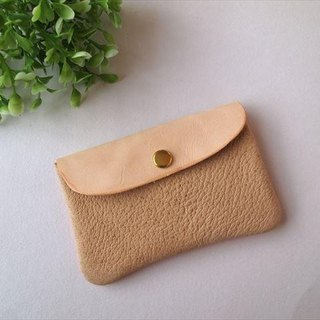 [Beige × orange] pig leather soft card case [MTO] Leather Pass Case