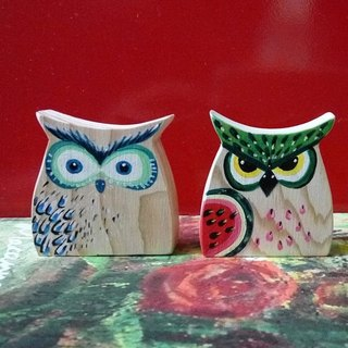 Painted cypress key ring - owl (2)