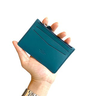Leather card holder /Navy blue