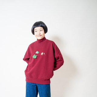 camping / sweatshirt with two pockets / wine red
