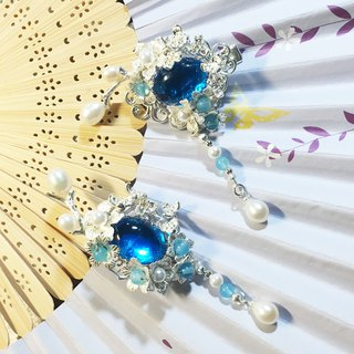 Pull Tianhua {blue water} natural pearl natural blue jade beads with blue glass brass accessories hand hairpin / pin
