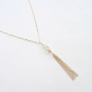 Golden Rutilated Quartz Tassel Pendant 14K Gold Filled Matinee Necklace