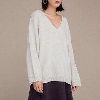 White 100% pure wool V-neck loose thick sweater classic wild style Wagga deep V-neck loose mix autumn and winter