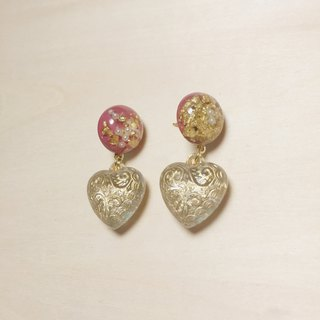 Vintage Pearl Gold Foil Deep Pink Engraving Fat Love Earrings