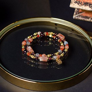 <Slow temperature natural stone>C1241 sun stone red pomegranate double circle bracelet // Cleopatra