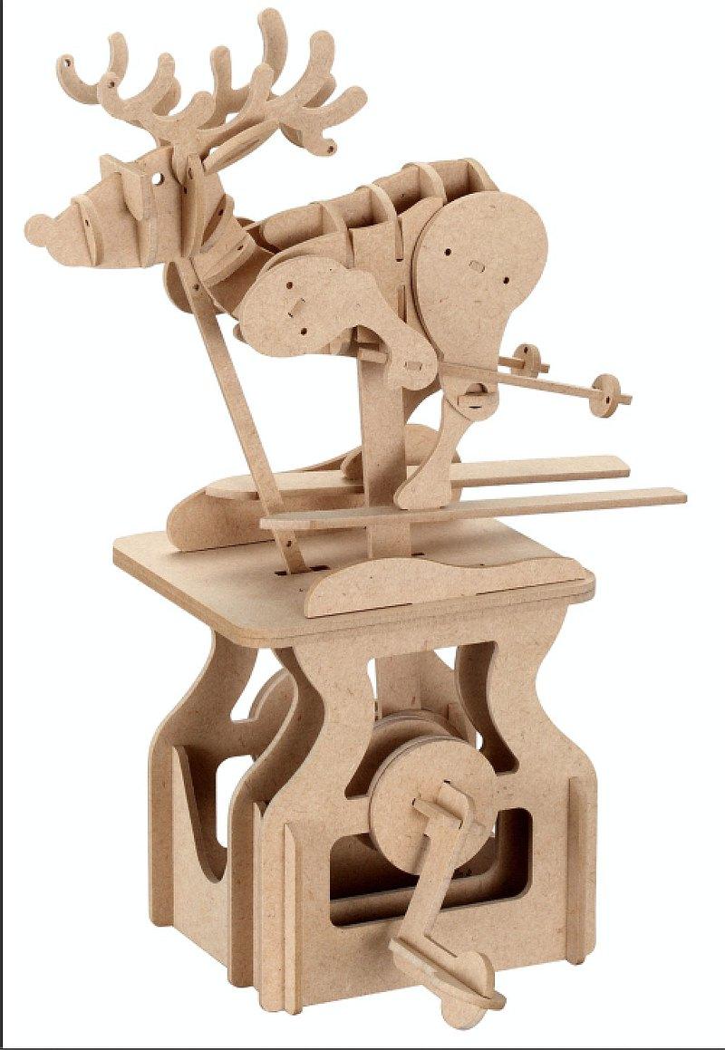 DIY動態木模-滑雪麋鹿