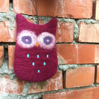 Owl wool felt key bag