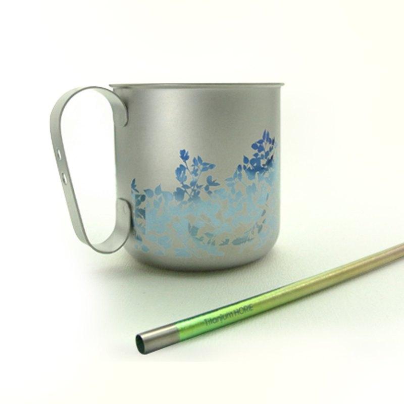 【日本製 Horie】鈦愛地球組合-純鈦馬克杯-藍葉藤+純鈦吸管-浪漫粉