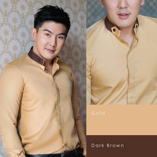 Long-sleeved shirt with adjustable collar (gold & dark brown)