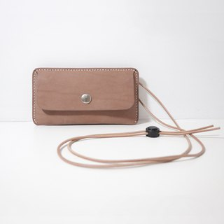LUCE hand-sewn and vegetable tanned leather strap phone case - camel