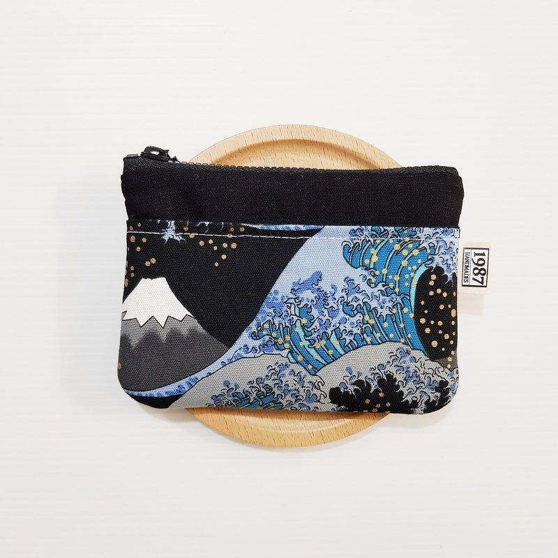 【浮世繪大海浪(黑)】 零錢包 手拿包 隨身包 拉鏈袋 聖誕禮物