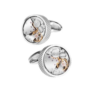 Kings Collection Silver Cufflinks กลมกลม KC10014 เงิน