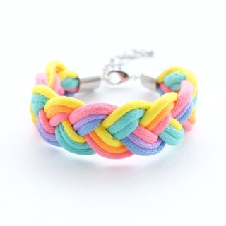 Rainbow pastel braided bracelet