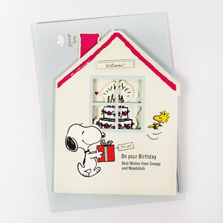 Snoopy, we are waiting for you at home to celebrate Happy Birthday [Hallmark Stereo Card]