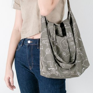 Grey Linen 2 Ways Tote Bag with Cat Pattern
