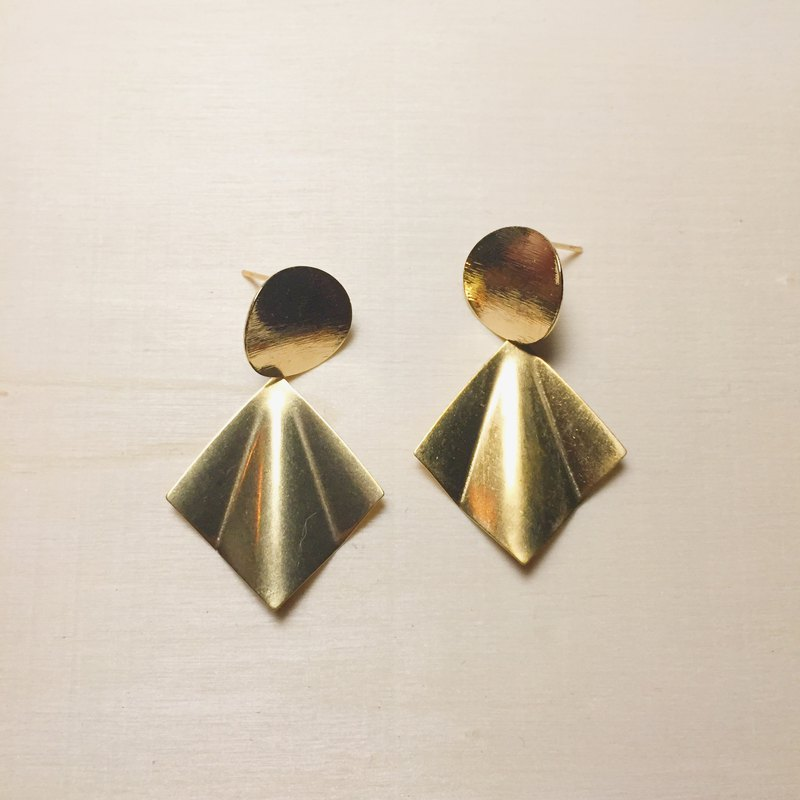 拉絲摺紙菱形耳環