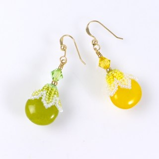 Yellow green summer jewelry, teardrop earrings, boho chic, cute, gift, 400