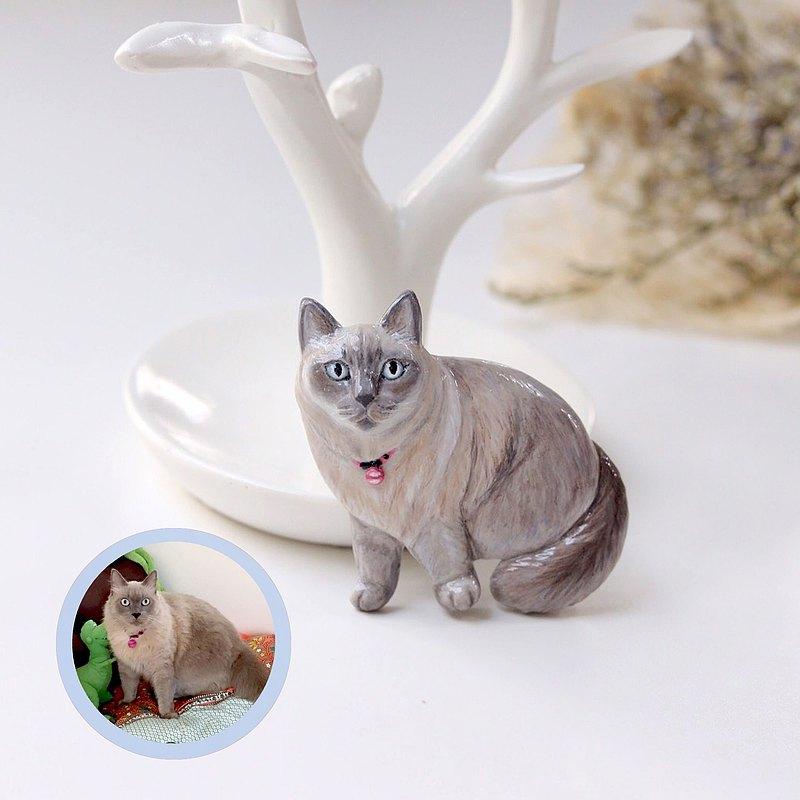 自定義貓肖像胸針-全身,自定義貓胸針,個性化貓